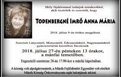 Elhunyt Todenbergné Imrő Anna Mária volt alpolgármester!